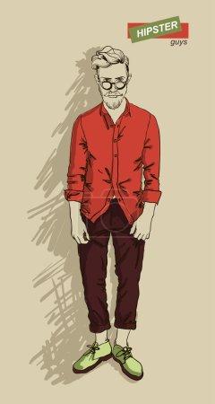 Illustration pour Hipster guy avec des lunettes isolées sur fond clair, illustration vectorielle eps 10 - image libre de droit
