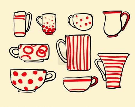 Set icons tea coffee cups