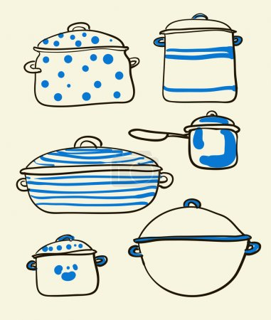 Illustration for A Cookware set of Retro chef stuff illustration - Royalty Free Image
