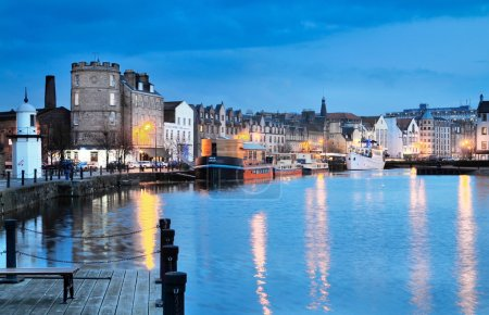Photo for Edinburgh, Scotland, Old Harbour Leith by night. - Royalty Free Image
