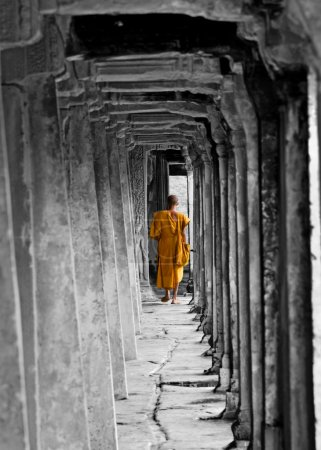 Buddhist Monk at Angkor Wat, Cambodia