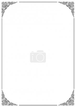 Photo pour Beau cadre avec motif floral sculptant sur fond blanc - image libre de droit