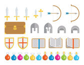 A set of geometric icons of classic elements found in fantasy and medieval settings This is an Ai 10 file that does not contain transparencies gradients or blends All layers have been grouped and named for easy editing