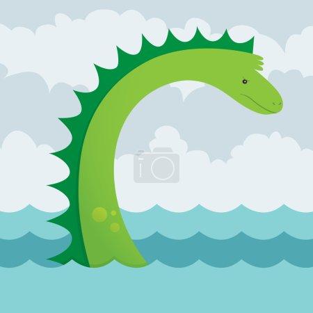 Illustration pour Illustration vectorielle d'un serpent de mer en colère mais mignon. Il s'agit d'un fichier Ai 10 qui contient des dégradés mais ne contient pas de transparences ou de mélanges. Tous les calques ont été regroupés et nommés pour faciliter l'édition . - image libre de droit