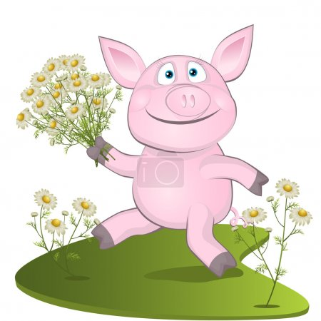 Illustration for Pig with a bouquet of camomiles.  illustrations - Royalty Free Image