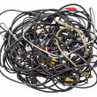 Heap of different computer cables and plugs isolat...