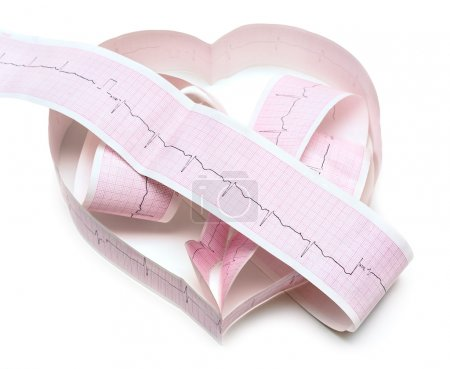 Paper ECG graph in shape of heart with heartbeat p...