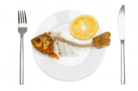 Fish skeleton with squeezed lemon on the plate - s...
