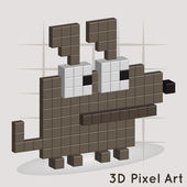 Dog Pixel Art Vector