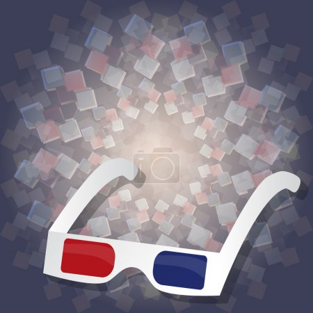 3d cardboard glasses for watching movies on 3d background