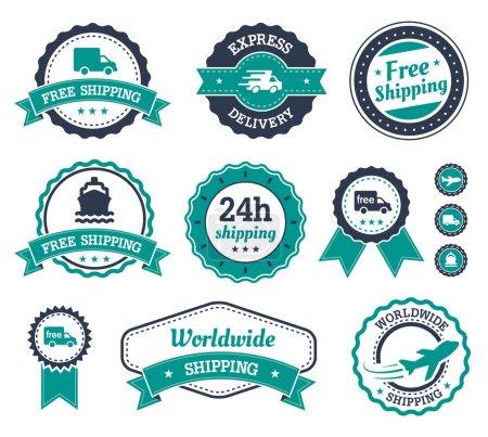 Ilustración de Etiquetas de envío con texto diferente en él. 24h del envío, entrega, envío mundial expresa. - Imagen libre de derechos
