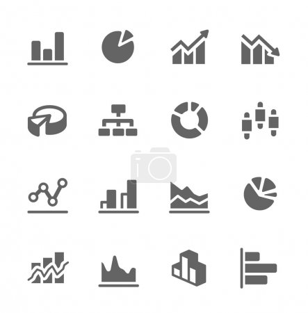 Graph and diagram icon set.