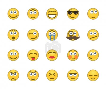 Illustration for Set of 20 emotion related icons. - Royalty Free Image