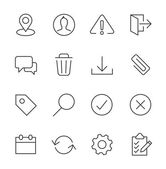 Stroked interface icon set