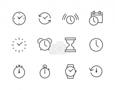 Illustration for Thin line simple set of Time related vector icons for your design or application. - Royalty Free Image