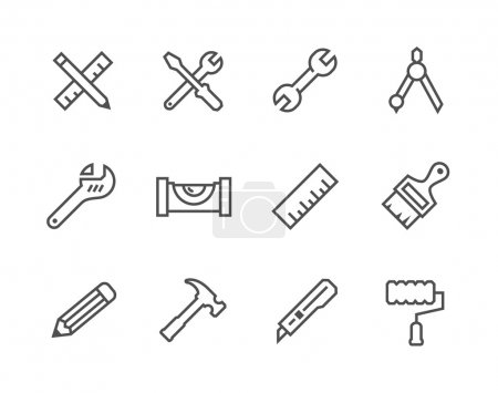 Photo for Simple set of tools related vector icons for your design - Royalty Free Image