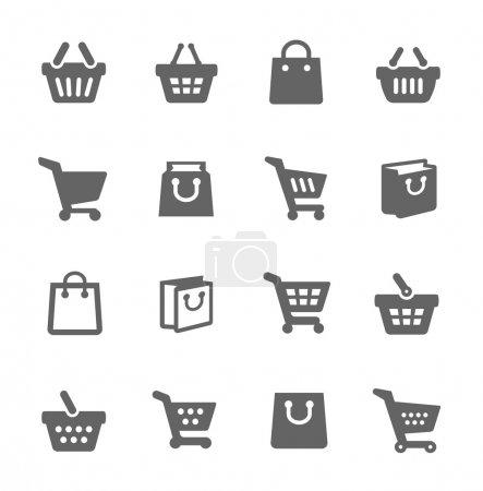 Illustration pour Ensemble simple de sacs à provisions Icônes vectorielles connexes pour votre conception. Format vectoriel EPS 10. Bien organisé et stratifié . - image libre de droit