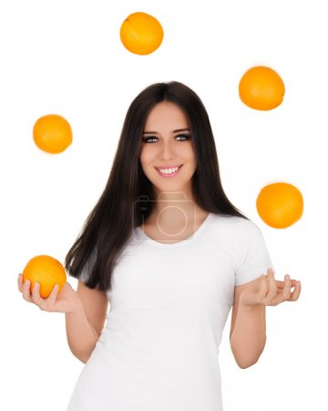 Girl Juggling Oranges White T-shirt and Background