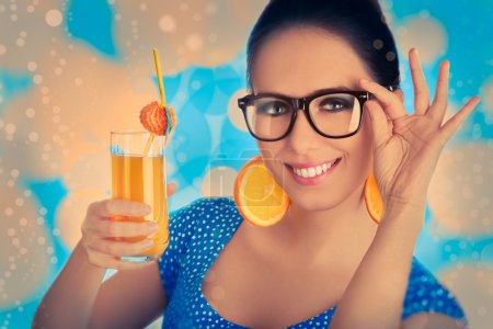 Smart Girl with Orange Juice and Orange Slice Earrings