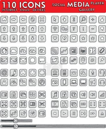 Social Media Hand-Drawn Icons - 110 Icons Set