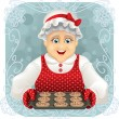 Vector illustration of a happy granny holding a freshly baked cookies tray. File type: vector EPS AI8 compatible.