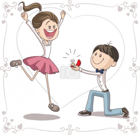 Illustration for Vector cartoon of a cute young man proposing to a very happy bride-to-be. - Royalty Free Image
