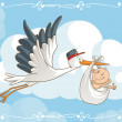 Vector cartoon of a cute stork carrying a baby to ...