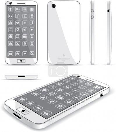 White Smart Phone - Multiple Views
