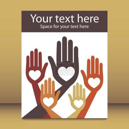 Joyful hands design with copy space.