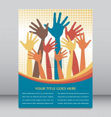 Illustration for Large group of colorful hands vector. - Royalty Free Image