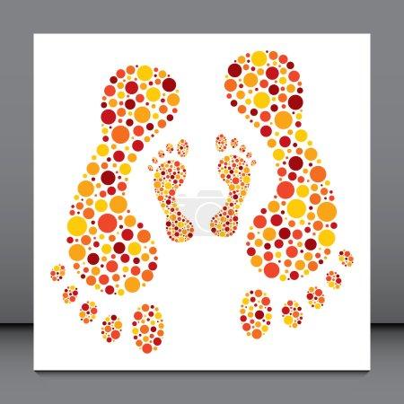 Illustration pour Vecteur d'empreintes de points circulaires colorées . - image libre de droit