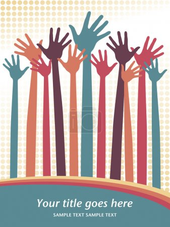 Illustration for Large group of happy hands - Royalty Free Image