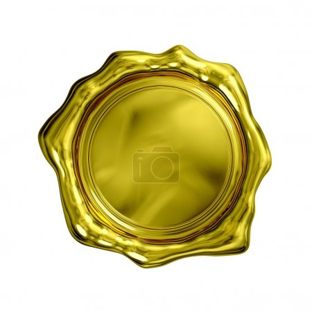 Photo pour Sceau d'or - isolé (fond blanc et blanc) - image libre de droit