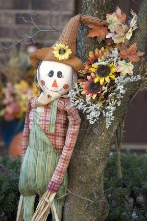 Photo pour Décoration d'Action de grâces d'épouvantail et de fleurs et feuilles sèches dans le jardin . - image libre de droit