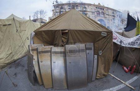 Military camp on the street of Kiev