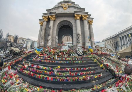 Flowers and  candles in memory of heroes of Euromaidan
