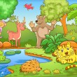 Animals in forest. EPS10 File - simple Gradients, ...