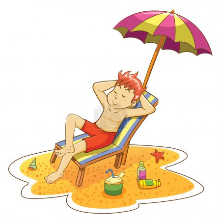 Illustration for Man on the beach. EPS10 File - simple Gradients,simple Transparencies .no Effects, no mesh.All in separate group for easy editing. - Royalty Free Image