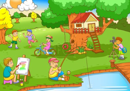 Illustration for Children playing under tree house.EPS10 File - simple Gradients, no Effects, no mesh, no Transparencies.All in separate layers for easy editing. - Royalty Free Image