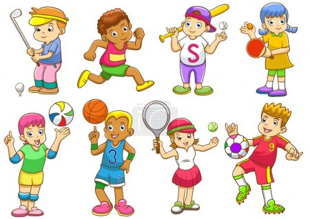 illustration of children playing different sports