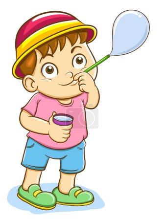 Illustration pour Petit garçon soufflant bulles de savon - image libre de droit