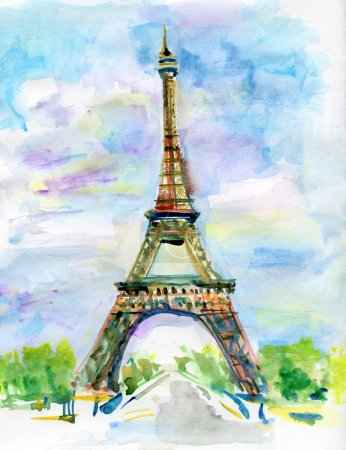 Photo for City of Paris in watercolor. Painting of The Eiffel Tower - Royalty Free Image