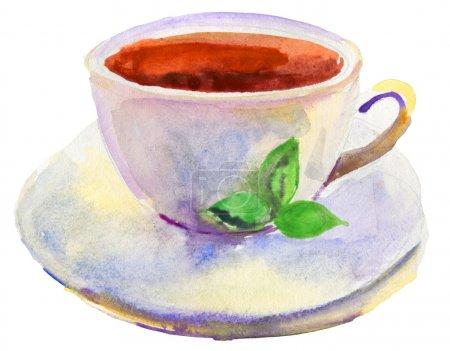 Photo pour Tasse de thé et une aquarelle feuille verte naturelle - image libre de droit