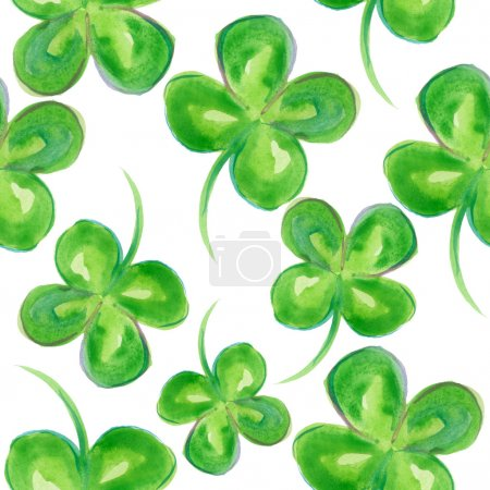 Photo for Clover watercolor. Four-leaf clover painting. - Royalty Free Image