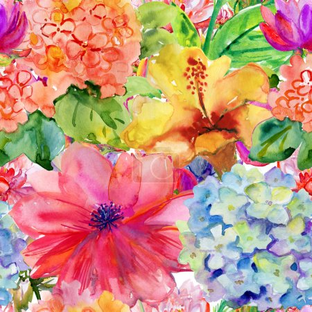 Abstract watercolor hand painted backgrounds with magnolia, hibiscus and orchid.