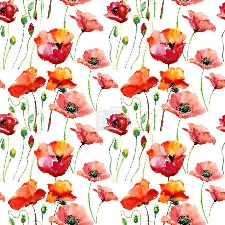 Photo pour Illustration des fleurs de pavot stylisées, modèle sans couture - image libre de droit