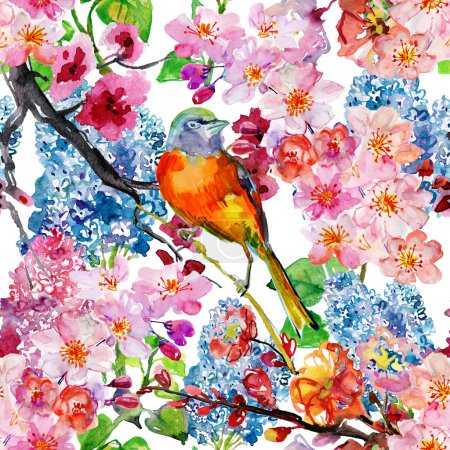 Photo pour Printemps motif floral sans couture avec oiseau et fleurs en fleurs - image libre de droit