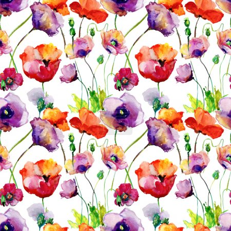 Photo for Stylized Tulips and Poppy flowers illustration, seamless pattern - Royalty Free Image