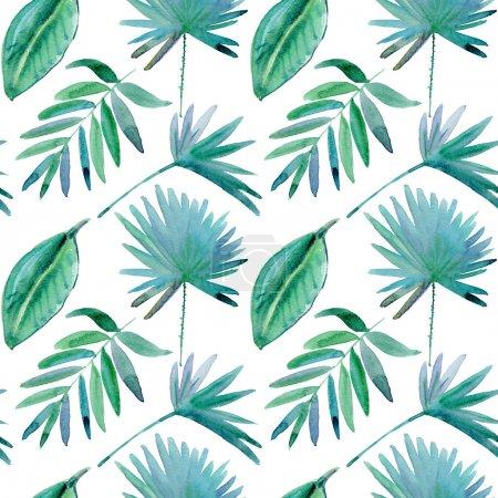 Photo pour Modèle sans couture avec des feuilles tropicales. Aquarelle - image libre de droit