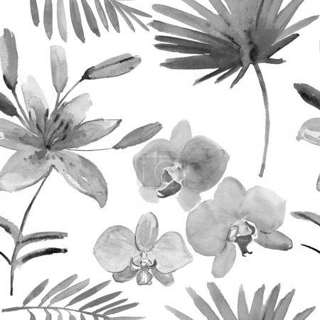 Photo pour Floral pattern sans soudure. noir et blanc - image libre de droit